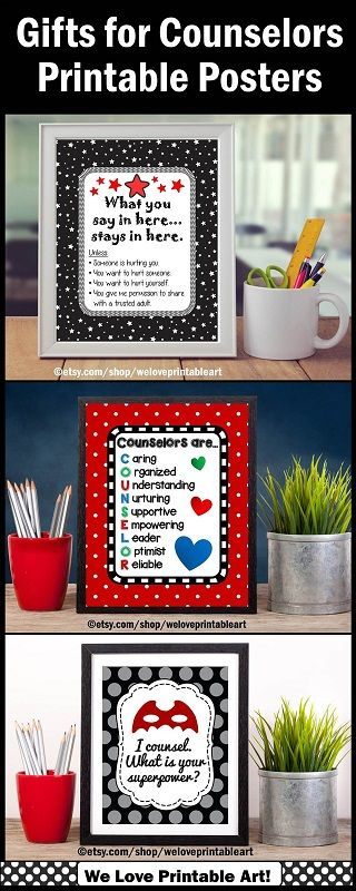Counselor Appreciation Gifts:  These INSTANT DOWNLOAD printable posters make quick and easy gifts for your favorite counselors!  Just download and print in 8x10, 16x20 or 24x30.  There are lots of choices in different quotes and colors. https://www.etsy.com/shop/WeLovePrintableArt?search_query=counselors