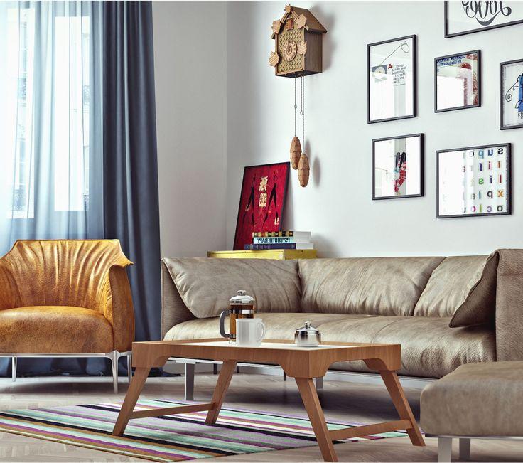 оранжевый диван в скандинавском интерьере - Поиск в Google