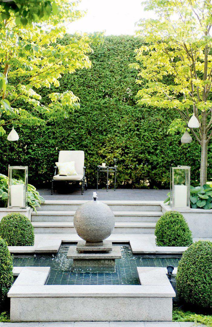 gartenbrunnen design hinterhof gestalten