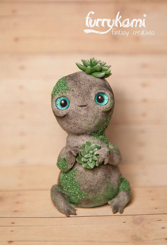 READY TO SHIP Stone totem  art figure with moss  by Furrykami