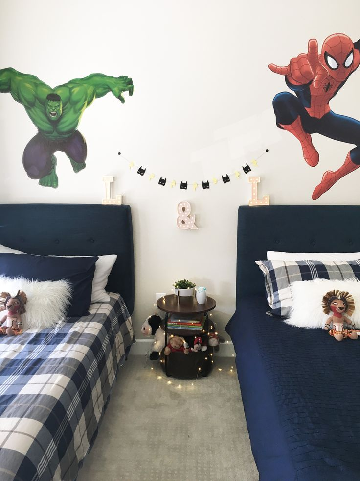Superhero Room, Boys Room, Spiderman Wall Decal, Hulk Wall Decal, Navy Blue