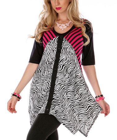 By Aster ~ Another great find on #zulily! Pink & Black Zebra Sidetail Top by Lily #zulilyfinds