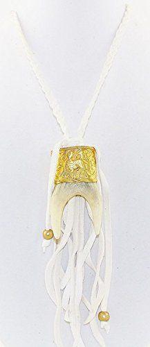 Pamela Lovett Double Elk Antler Deerskin Fringe Necklace *** For more information, visit image link.