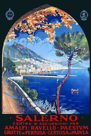 Vintage Italian Posters ~ #Italian #vintage #poster ~ Salerno Italy Travel Posters and Prints
