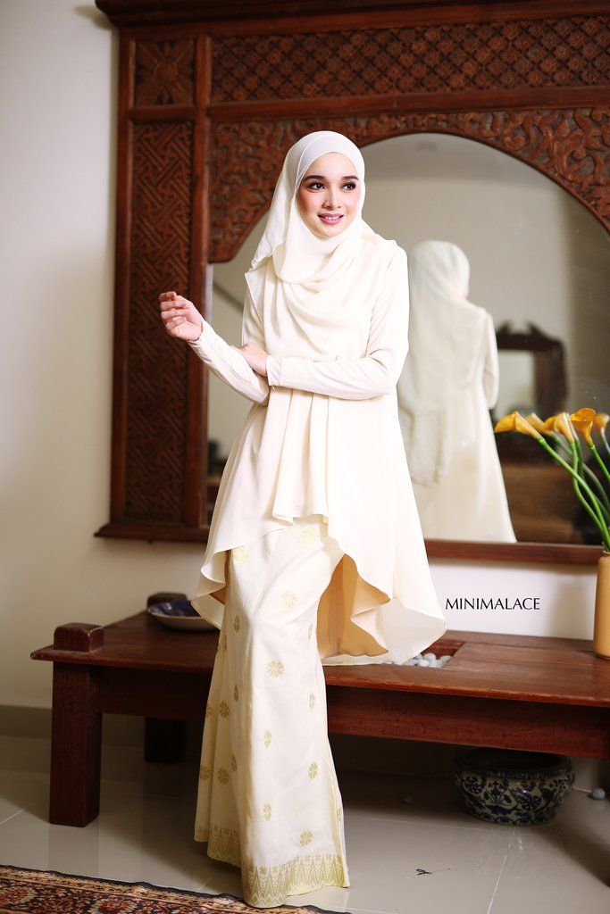 - Top : Heavy Chiffon (Fully lining) / Creamy Yellow colour - Bottom : Imported Indian Songket (Fully lining) / Cream colour - Wudu' Friendly - Hand Wash - Mode