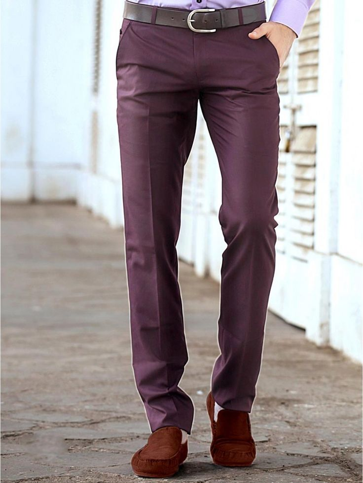 Get Ready For Office In Style By Wearing This Dusty Purple Color Formal Trousers Featuring
