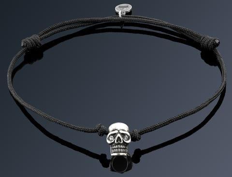 Bratara Neagra cu Craniu Placat Argint