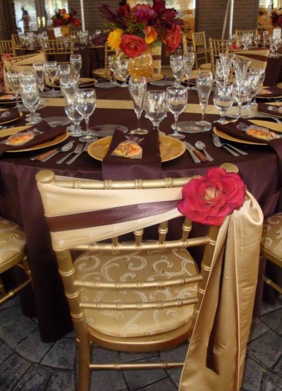 Gold Brown And Red Wedding Tables Ides