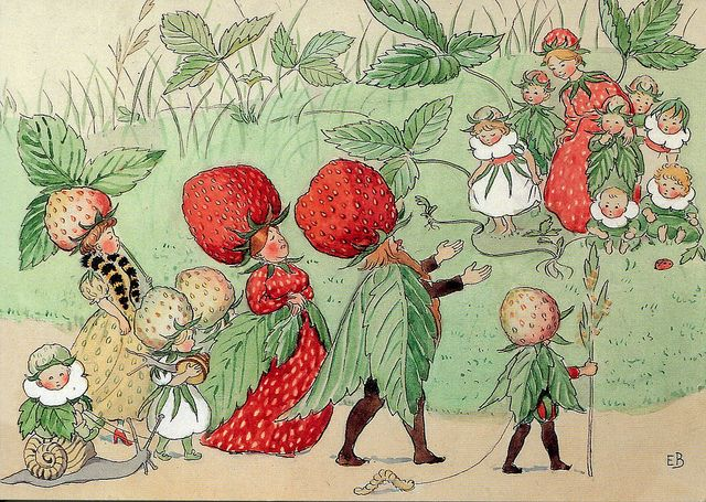 The Strawberry family.  Illustration by Elsa Beskow | Flickr