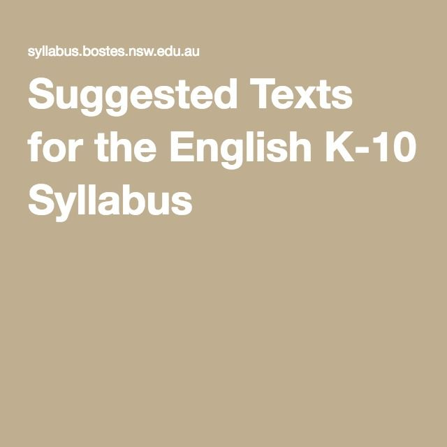 A list of suggested texts for the NSW English K-10 Syllabus