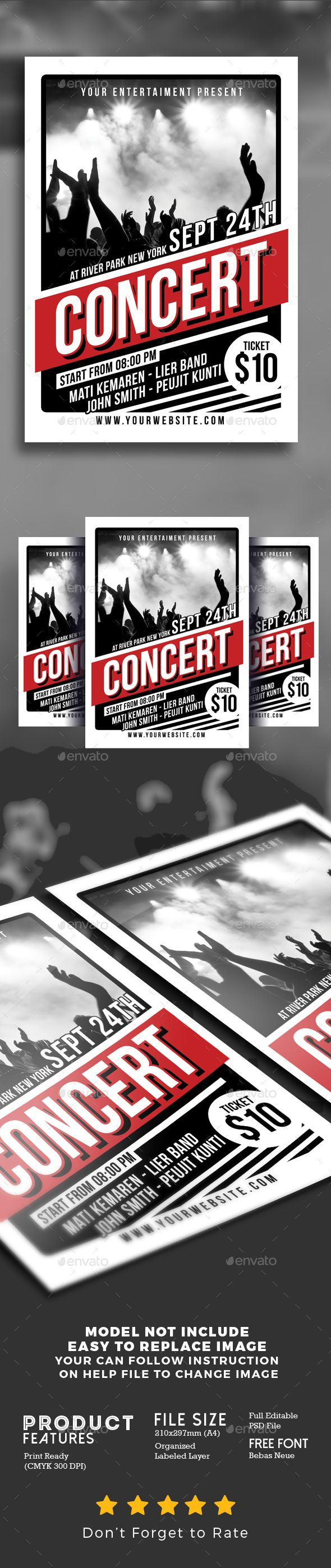 FLYER DESIGN IDEAS > Get even more flyer ideas from my Board: https://pinterest.com/analika3/flyer-ideas-flyer-design-inspiration/ << Click this link to get more ideas for your projects.... Music Concert Flyer Poster Template PSD _ Great inspiration for graphic designers in need of music concert flyer & poster templates ;)