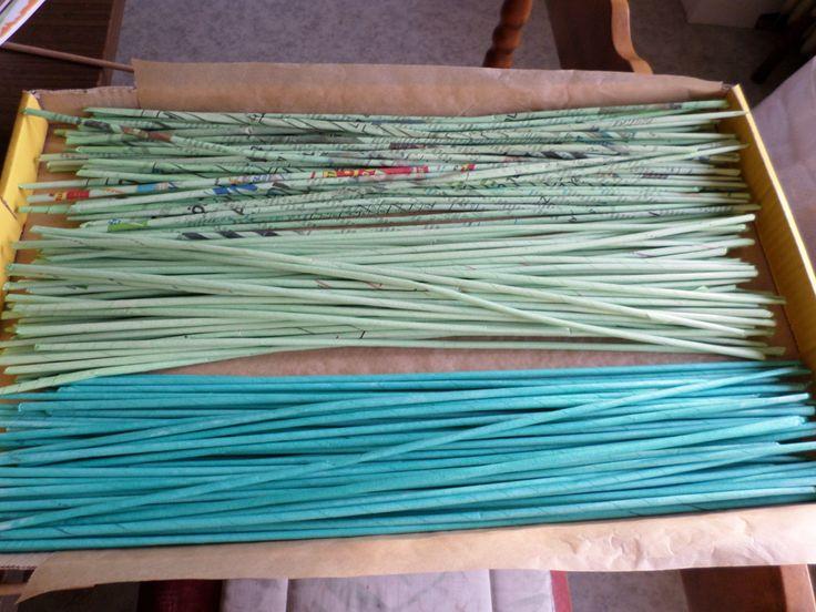 Festett pálcák papírfonáshoz Papírfonás Paper weaving