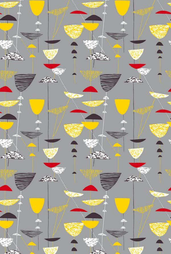 Calyx - Grey    Lucienne Day : Classic.                                                                                                                                                                                 Plus