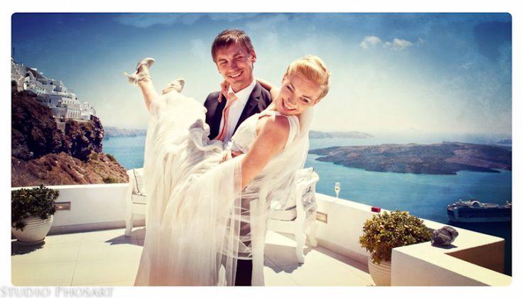 Destination wedding Santorini at the Dana Villas wedding terrace
