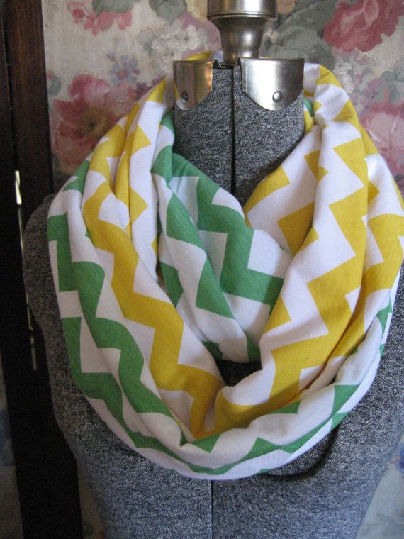 2 pack lot Green and Yellow Chevron Infinity Scarves - school team colors - U of O Ducks - Green Bay Packers - ChevronScarf on Etsy, $33.00