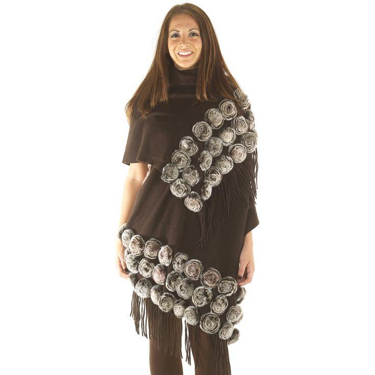 Cochni CE-120 Cashmere & Fur Pashmina Wrap – Brown