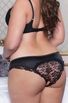 Black Satin Open Crotch Lace Back Panty in 1X/2X