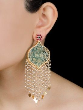 Gold-Printed Colored Glass Floral Silver Earrings