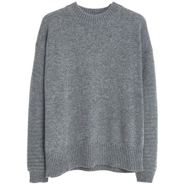 Mango Wool-Blend Jumper , Medium Grey found on Polyvore featuring tops, sweaters, medium grey, long sleeve jumper, grey top, wool blend sweaters, long tops and mango tops