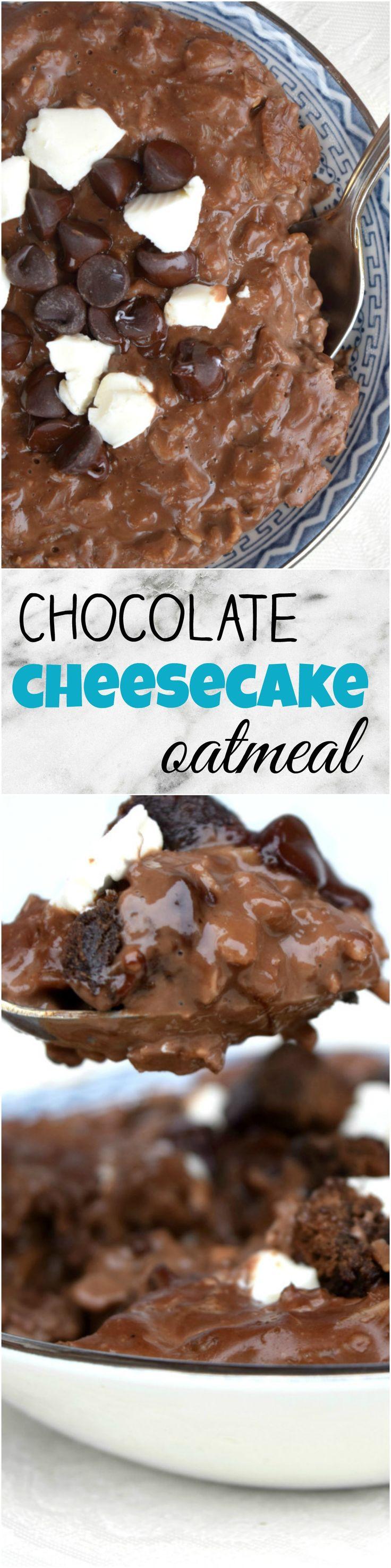 Decadent chocolate cheesecake oatmeal!