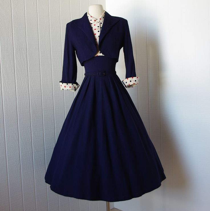 vintage 1940s dress ...fabulous WWII navy blue full skirt pin-up dress with polka dot bodice and bolero jacket