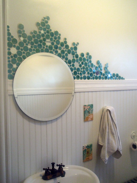 Circle Mosaic Tile Used Minimally To Create A Fun Pattern!