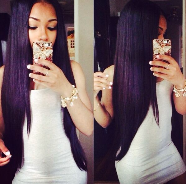 Long Straight Middle Part Sew In Hair Pinterest