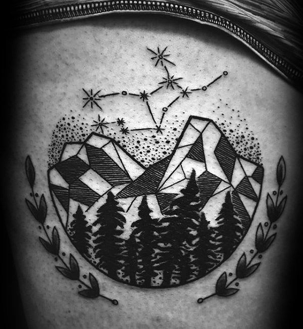 Virgo Constellation Mens Thigh Tattoo Ideas