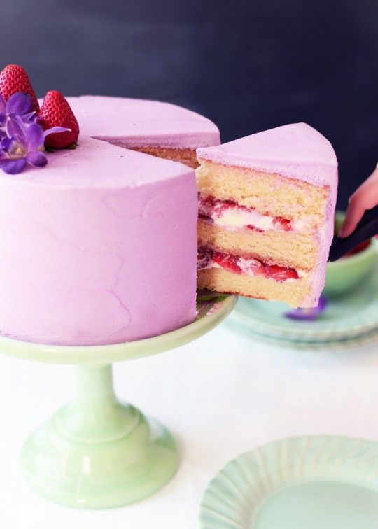Strawberry-Lavender Buttermilk Cake Recipe ~ 3 layers of moist, fluffy buttermilk cake filled with vanilla whipped cream & strawberry-lavender compote, and frosted with creamy, whipped lavender frosting.