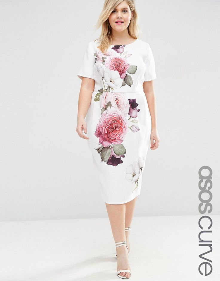ASOS+CURVE+Wiggle+Dress+in+Rose+Placement+Print
