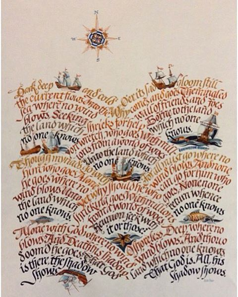 We're on the high seas with this sea worthy broadside written out and illustrated by calligrapher Hella Basu (1924-1980). This is a poem by Ebenezer Elliott, the Corn Law Rhymer (1781-1849).  Basu was born in Kassel, Germany, emigrating to England in 1950. She lived in the city of Hull where she was a lecturer in graphic arts at Hull College. If this broadside is any indication, Hella thoroughly absorbed the culture of this sea faring folk.  Hella Basu's calligraphy may be found in the Ha...