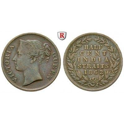 Straits Settlements, Victoria, 1/2 Cent 1862, ss: Victoria 1837-1901. Kupfer-1/2 Cent 1862. KM 5; sehr schön 120,00€ #coins