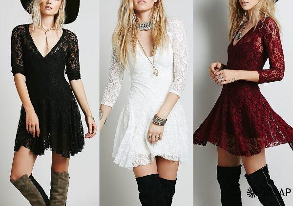 Charming V Neck Mini Lace Dress m.OASAP.com