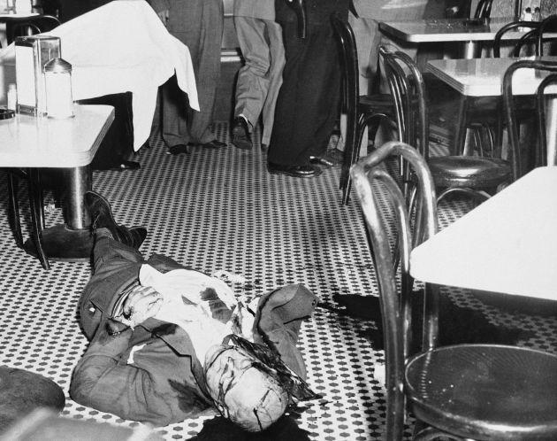 Willie Moretti's bullet-ridden body lies on floor of restaurant in Cliffside Park, N.J., on Oct. 4, 1951.
