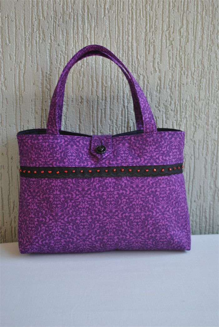Candace - ladies purple bag with bead trim | Witching Hour | madeit.com.au