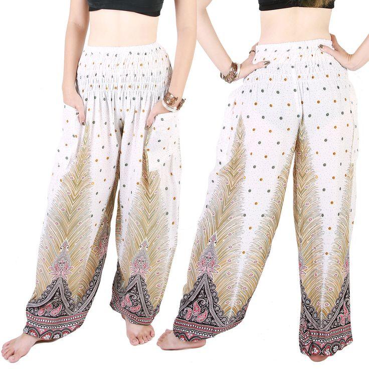 Harem Trousers - Aladdin Smock Pants Hippie Boho Jumpsuit Paisleys White Aj101W