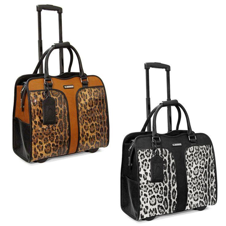 Cabrelli Safari Leopard Womens Rolling Laptop Bag Wheeled