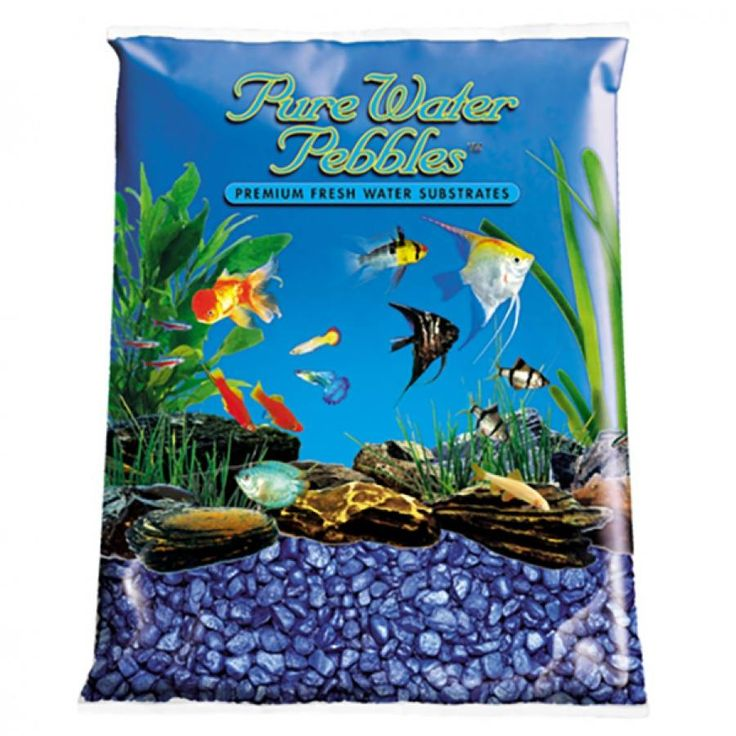 5lb Pure Water Pebbles Blue Frost Aquarium Gravel is a natural freshwater aquarium gravel substrate. Fish-safe 100% acrylic coating. Non-toxic and colorfast, will not alter aquarium chemistry.