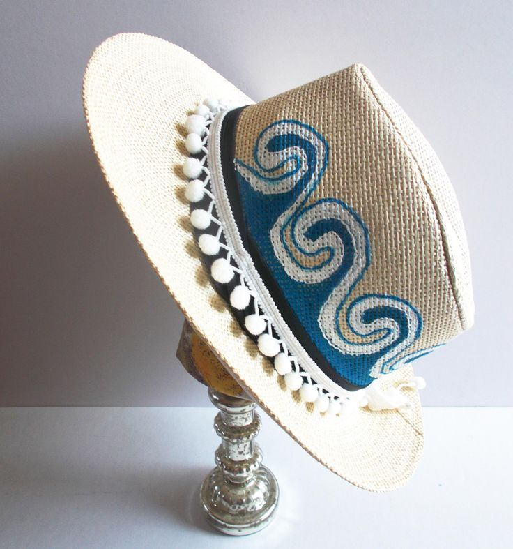 Make a scene! handpainted straw hat, unisex fedoras, good durability, fashion stylish & trendy lifestyle, wearable art by mademeathens #hats #accessories #handpainted #fedoras