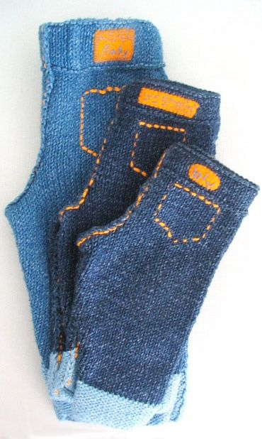 Knitted Baby Jeans: free pattern.