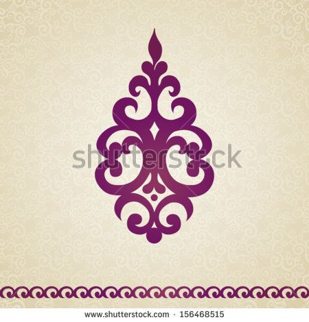Symmetric ornament pattern in Victorian style on seamless curls background. Element for design. It can be used for decorating of invitations...