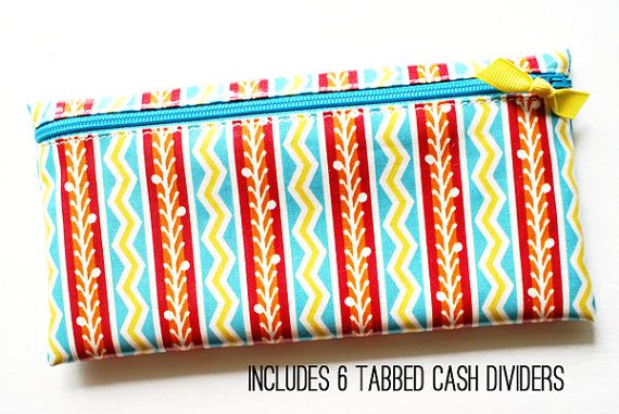 Cash organizer with 6 wallet dividers  red by ATime4Everything