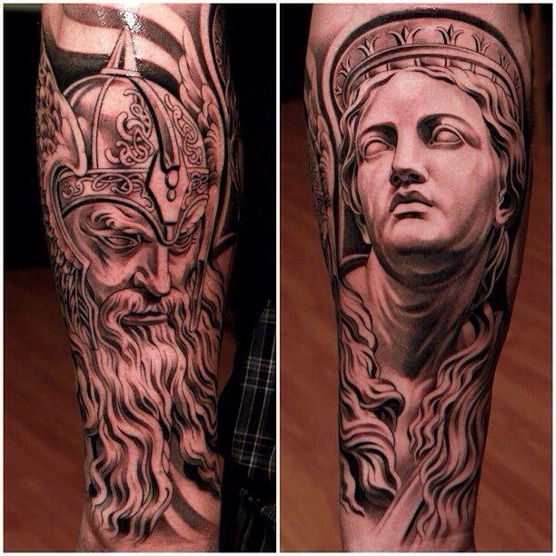 Odin and greek statue tattoos by jun cha dat tatt for Greek sculpture tattoo