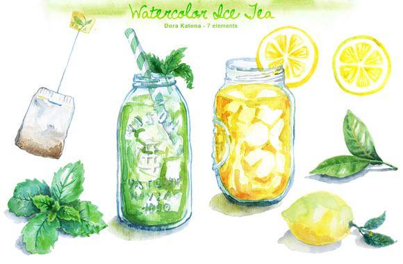 Check out Watercolor Ice Tea by Dora Katona on Creative Market