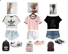Summer outfits for teen girls ;) by luv2dance04 ❤ liked on Polyvore featuring adidas Originals, Barbour International, True Religion, Converse and Vans