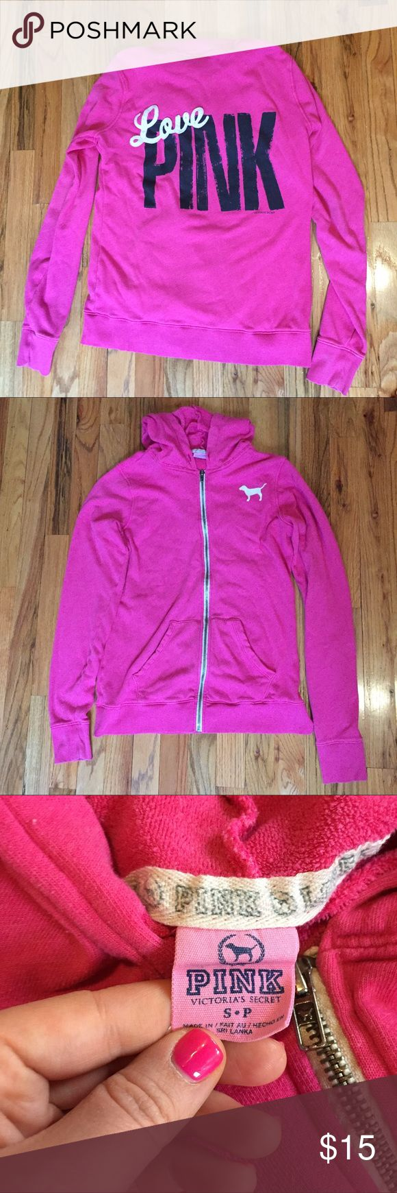 VS PINK Hot Pink Zip Up Hoodie Well loved but still in good condition. PINK Victoria's Secret Tops Sweatshirts & Hoodies