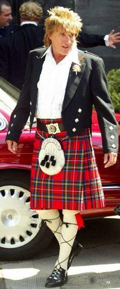Rod Stewart in full highland dress.