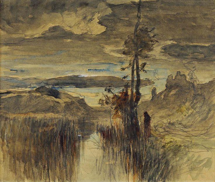 La Rivière de Roche (près de Morestel), aquarelle, lavis et crayon sur papier crème, 25 x 30 cm, collection particulière.