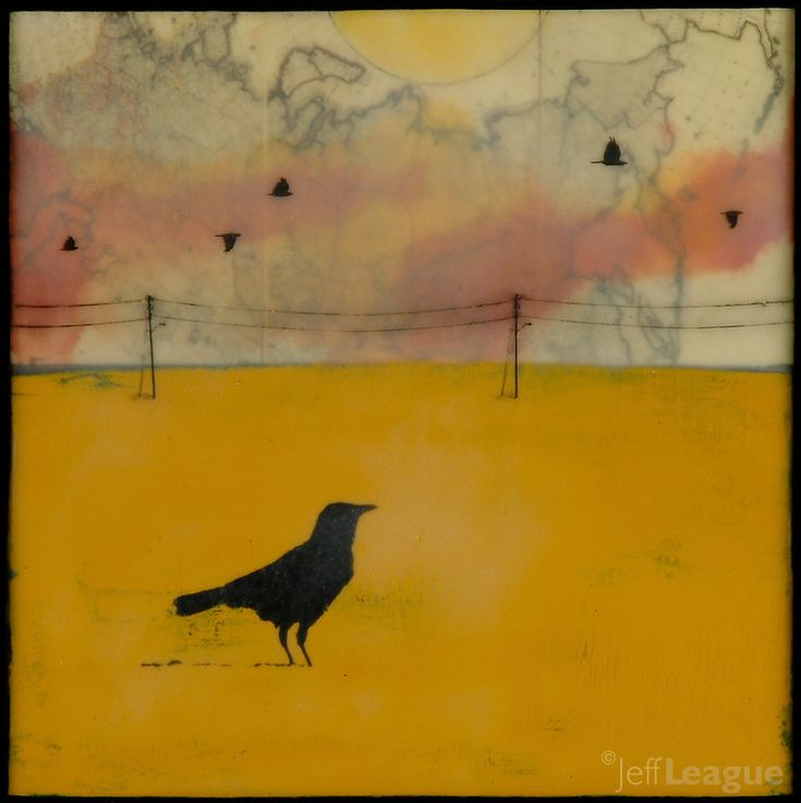 Mixed media photography of lone crow in yellow field with antique map and encaustic painting. Jeff League