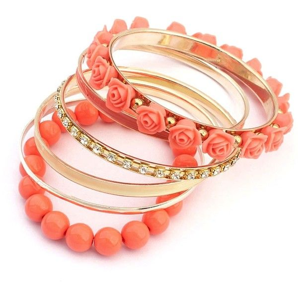 Ruby Rocks Jewellery Peach Rose Festival Bracelet Set found on Polyvore